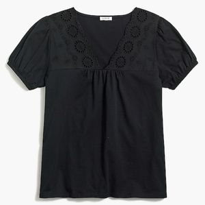 J.Crew Factory Eyelet Embroidered Puff Sleeve Top